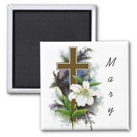 Customizable Cross and Lilly Magnet