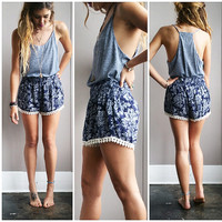 A Navy Floral Short
