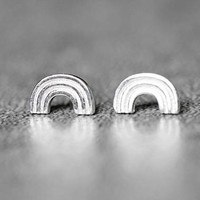 Tiny Rainbow Earrings, Sterling Silver Rainbow Stud Earrings, Arc Earrings, Geometric Studs Earrings, Rainbow Jewelry, gifts for her