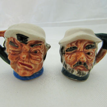 Vintage Toby Salt and Pepper Shakers Miniature Toby Characters