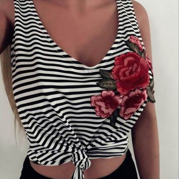 Women Embroidery Floral Shirts Sexy Summer Vest Top Sleeveless Shirt Blusa Cotton Casual Tank Tops Back Stripe Fitness Camiseta