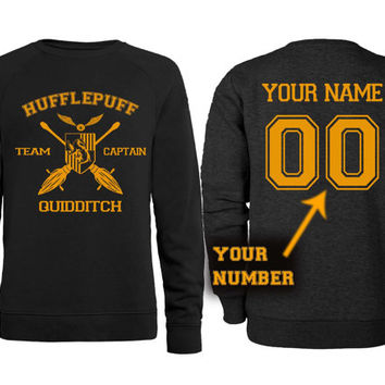 Hufflepuff Quidditch , Custom Name and Number Sweatshirt, custom sweatshirt, male and female S-XXL