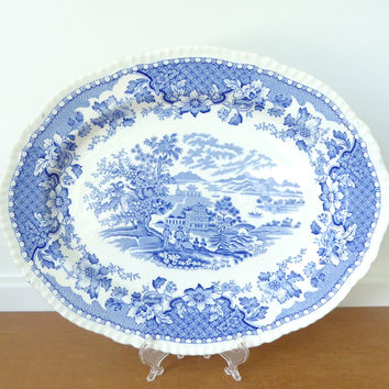 Wood & Sons Seaforth blue transfer ware platter by made in Burslem, England