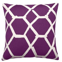 Jalli 18x18 Wool Pillow, Purple, Decorative Pillows