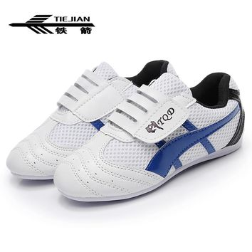 Blue White Taekwondo Shoes Adult Kids Breathable Non-slip Soft Oxford Shoes Professional Kung Fu Martial Arts Training Sneakers