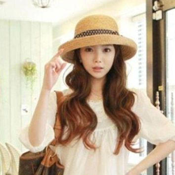 PEAP78W Korea Women Big Bow-knot Straw Hat Travel Panama Cap Beach Hat Fedora Summer UV Hats
