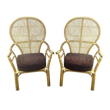 Pre-owned Vintage Rattan Fan Chairs - A Pair