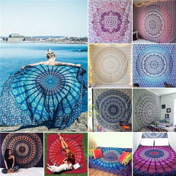 Vintage Bohemian Wall Hanging Tapestries Beach Printed Blanket Towels Sunscreen Shawls Bedspread Dorm Decor