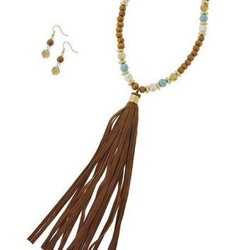 Brown Suede Leather Wood Bead Turquoise / White Stone Tassel Necklace & Earrings