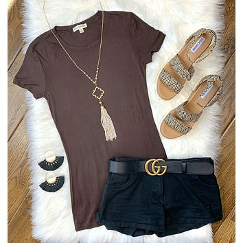 Basic Tee: Brown