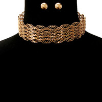 """15"""" wire collar choker necklace statement earrings"""