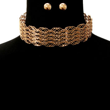 "15"" wire collar choker necklace statement earrings"