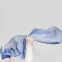 Vintage blue crinkle scarf, very long opalizing scarf, sheer blue scarf
