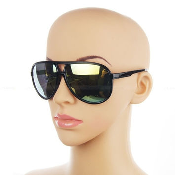 Classic Retro Sunglasses 70s Vintage Mens Womens Shade Pilot Cop Glasses (Color: Black) = 1946730052