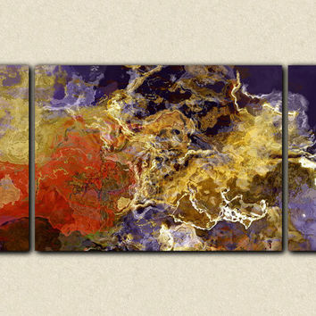 Triptych abstract expressionism canvas print by FinnellFineArt