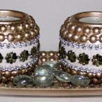 Set of 2 Wooden Tealight Candle Holders w/ Gold Wooden Boat Tray & Glass Marbles