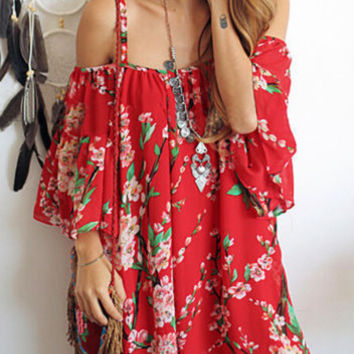 ‰÷Û Happiness is a day at the Beach ‰÷Û Women Floral Batwing Off Shoulder Beach Chiffon Casual Mini Dress