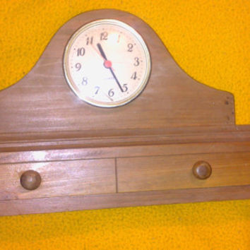 Vintage 70s Wooden Pine Mantel/Shelf/Dresser Clock with Drawer