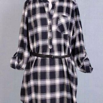 Plus Size Belted Plaid Tunic