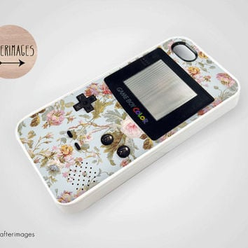 Floral Retro Gameboy iPhone 5 4 4S Case iPhone 4 Cute Kawaii Pastel Vintage Grunge Silicone
