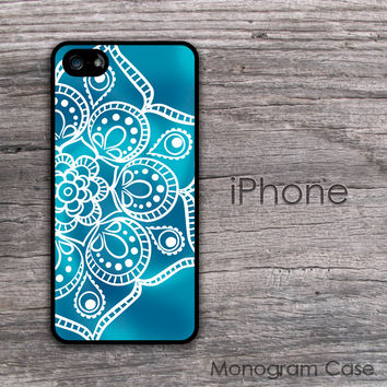 Design iPhone case mandala print blue background