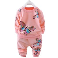 2 Piece Long Sleeve Butterfly Print Sweatshirt + Pant Set