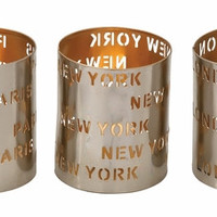 "Unique Metal Votive Holder Set Of 3 4""W 5""H"