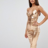 Club L Metallic Midi Dress at asos.com