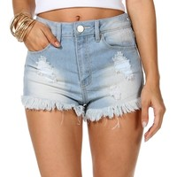 Sale -lt. Denim Fringe Distressed Shorts