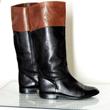Vintage leather riding boots / size US 7 / EU 37 / Tolino made in Spain / quality black / brown tall boots / equestrian boots