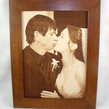 Gift for Newlyweds - Engraved Leather Wedding or Family Photos Engraved in Leather - Your Favorite Photo Burnt into Leather