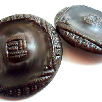 Set of 2 Large Vintage Brown Woven Pattern Shank Buttons, 45 mm