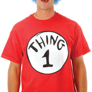 Adult Costume: Cat in the Hat Thing 1 with Wig | Small