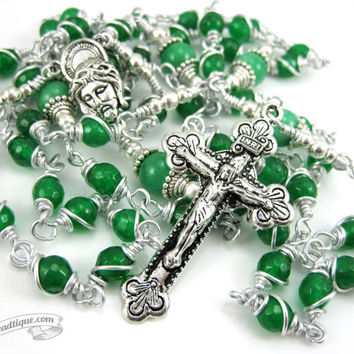 Unbreakable Aventurine Rosary confirmation gift green rosary catholic gift keepsake rosary catholic rosaries unbreakable rosary irish green