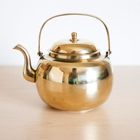 Vintage Solid Brass Teapot, Gold Tone Tea Kettle, Heavy Solid Metal Teapot, Cottage Farmhouse