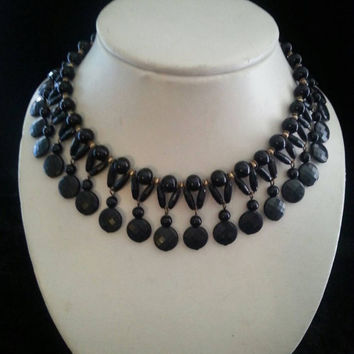 Vintage Black Lucite Bib Necklace Mid Century High End Collectible Costume Jewelry 1950s 1960s