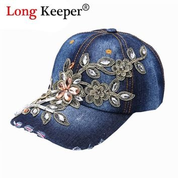 Women's Retro Distressed Wearing Baseball Cap Women Snapback Hats Crystal Rhinestone Floral Denim Van Gorras 2016 Fashion RZ81