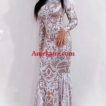 Rylee Diamante Feather Maxi Dress