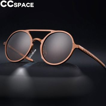 Round Steam Punk Sunglasses Men Polarized Cool Thick Frame Metal Fashion Shades UV400 Vintage Glasses Oculos 47827