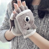 FunShop Bear Knitted Gloves for Women F1104