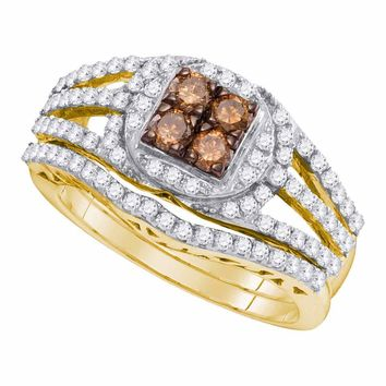 10kt Yellow Gold Womens Round Cognac-brown Color Enhanced Diamond Bridal Wedding Engagement Ring Band Set 1 Cttw