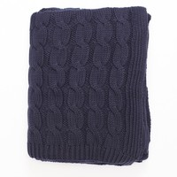 Navy Blue Big Cable Knit Throw