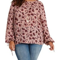 Plus Size Ivory Combo Floral Print Long Sleeve Top by Charlotte Russe