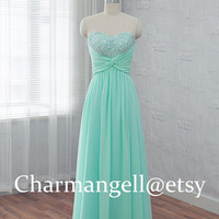 long prom dress, chiffon bridesmaid dress, Mint homecoming dress