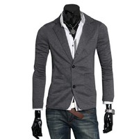 Men Peaked Lapel Long Sleeve Big Pockets Button Up Blazer Dark Gray S