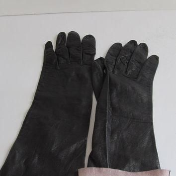 RARE Unique Long Black Kid Leather Gloves Lambskin Gloves Soft Leather Gloves Driving