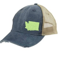 Distressed Snapback Trucker Hat -  Washington State off-center state pride hat - Many Colors available