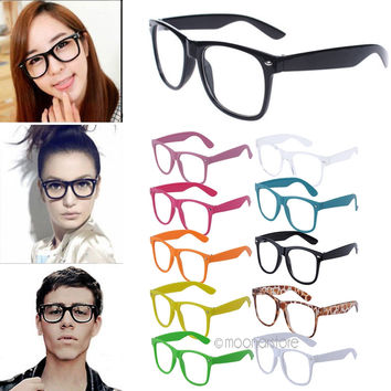 Hot Selling Fashion Retro Vintage Unisex Sunglasses Clear Lens Nerd Geek Glasses 10 Colors for Choice