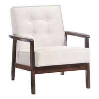 Avenue Mid Century Modern Arm Chair White Leather