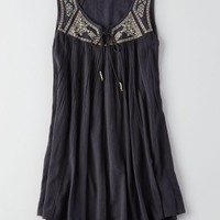 AEO Women's Embroidered Flowy Dress (Clouded Ink)
